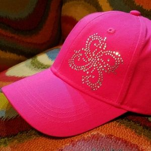 Pretty in Pink Ladies Cap with Butterfly Bling